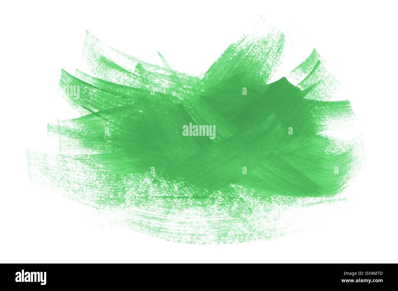 Vernice acrilica verde spazzola tratti isolati su sfondo bianco Immagini Stock