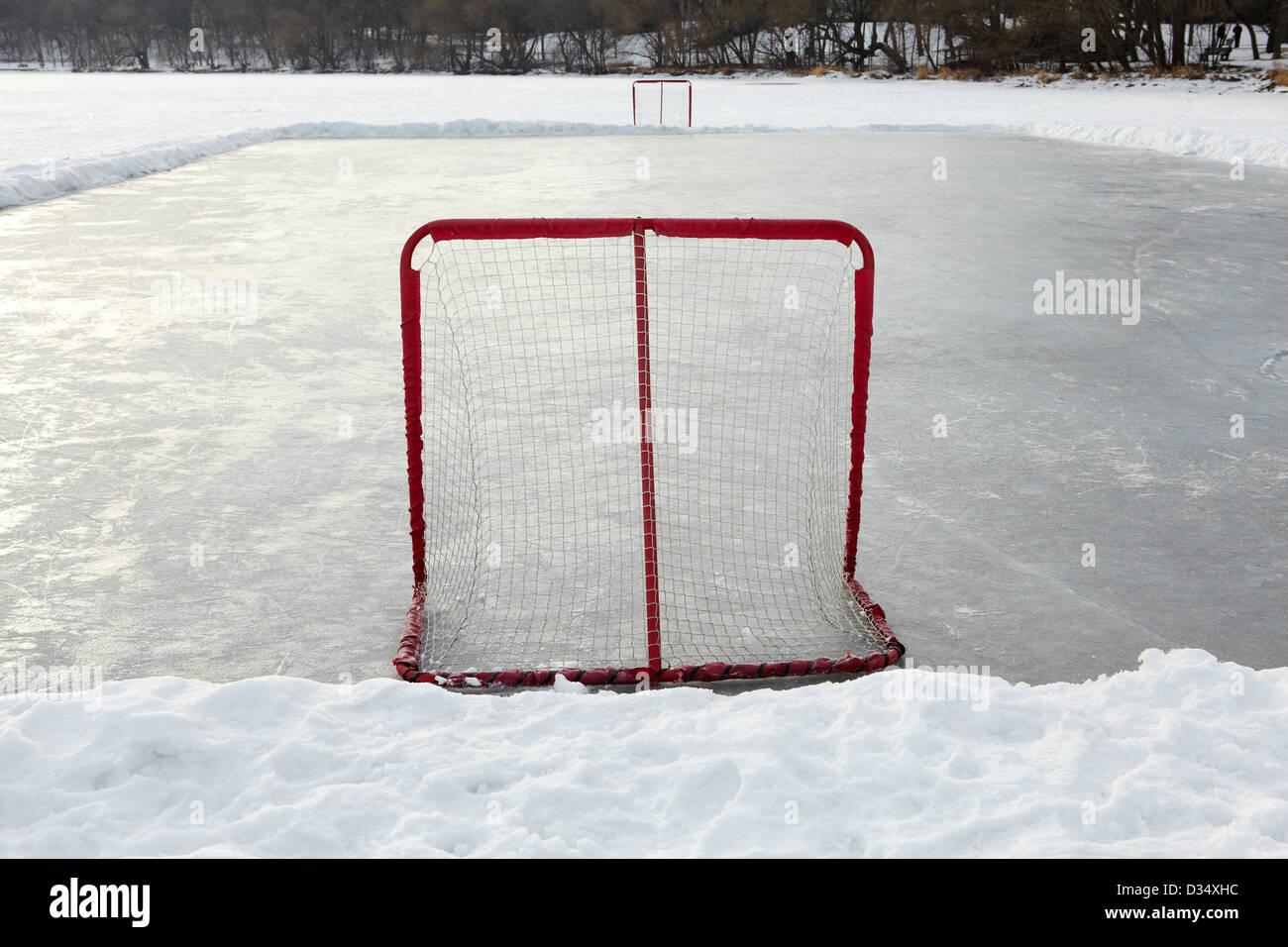 Home realizzato ice hockey ghiaccio con reti di obiettivo Immagini Stock