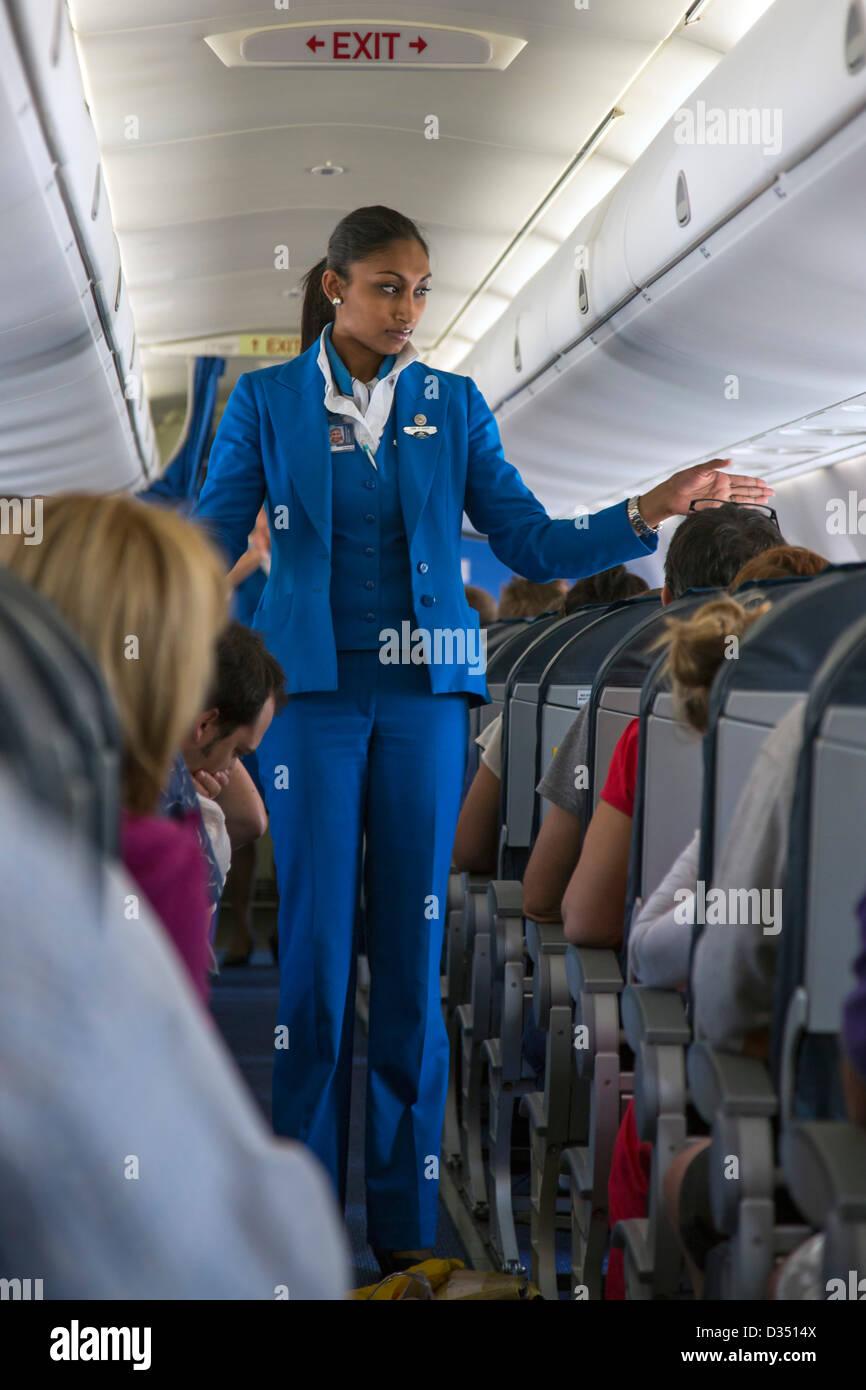 KLM air hostess in volo Immagini Stock