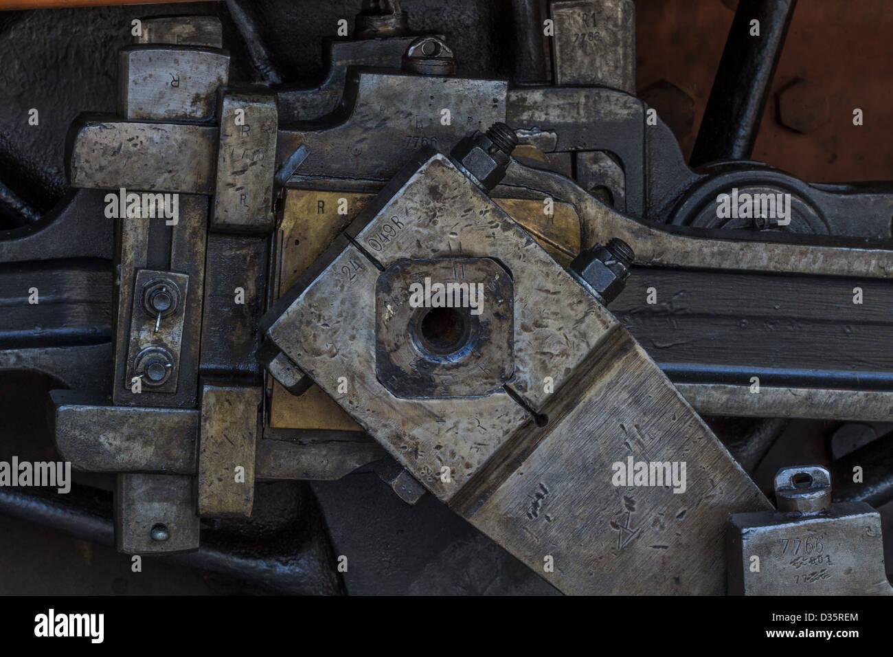 I dettagli di vecchie macchine grassa / motore di vapore Immagini Stock