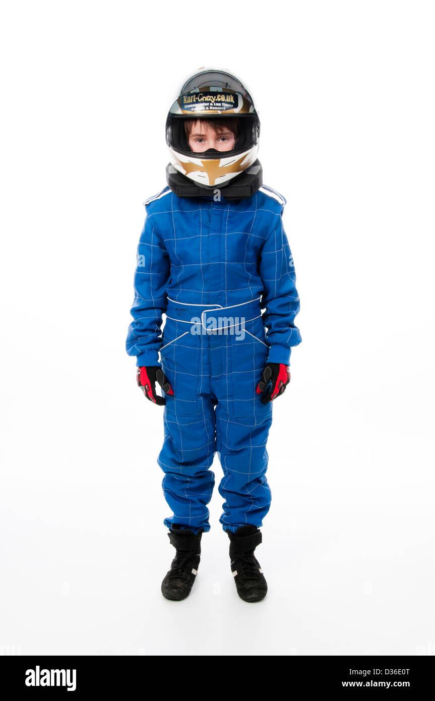 Bambino Motorsport indossare abbigliamento protettivo Immagini Stock
