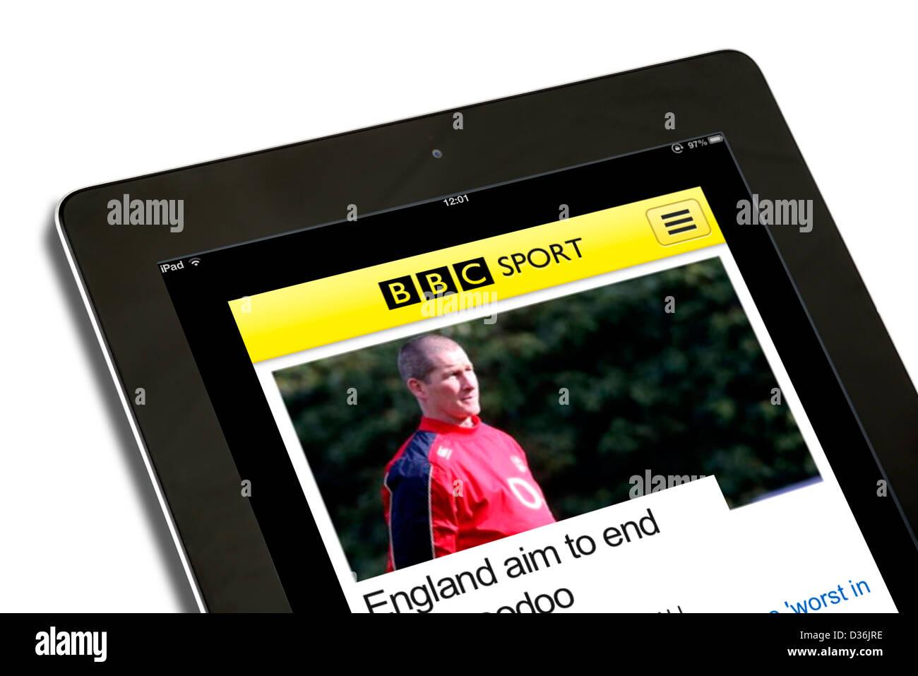 La BBC Sport mobile app su una quarta generazione di Apple iPad Immagini Stock