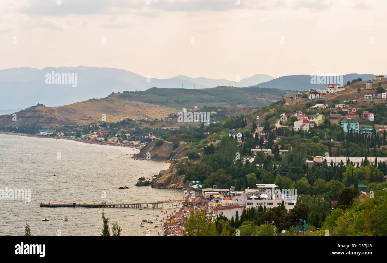 Sfondi, spiaggia, blu brillante, cloudscape, coste, Crimea, sogni, nebbia, mattina, natura, all'aperto, Scenic, Immagini Stock
