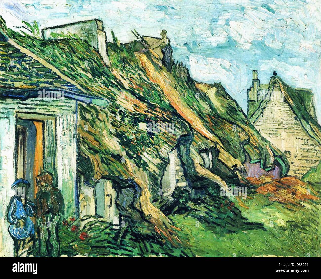 Vincent van Gogh, con tetto in paglia cottage in pietra arenaria in Chaponval. 1890. Post-Impressionism. Olio su Immagini Stock