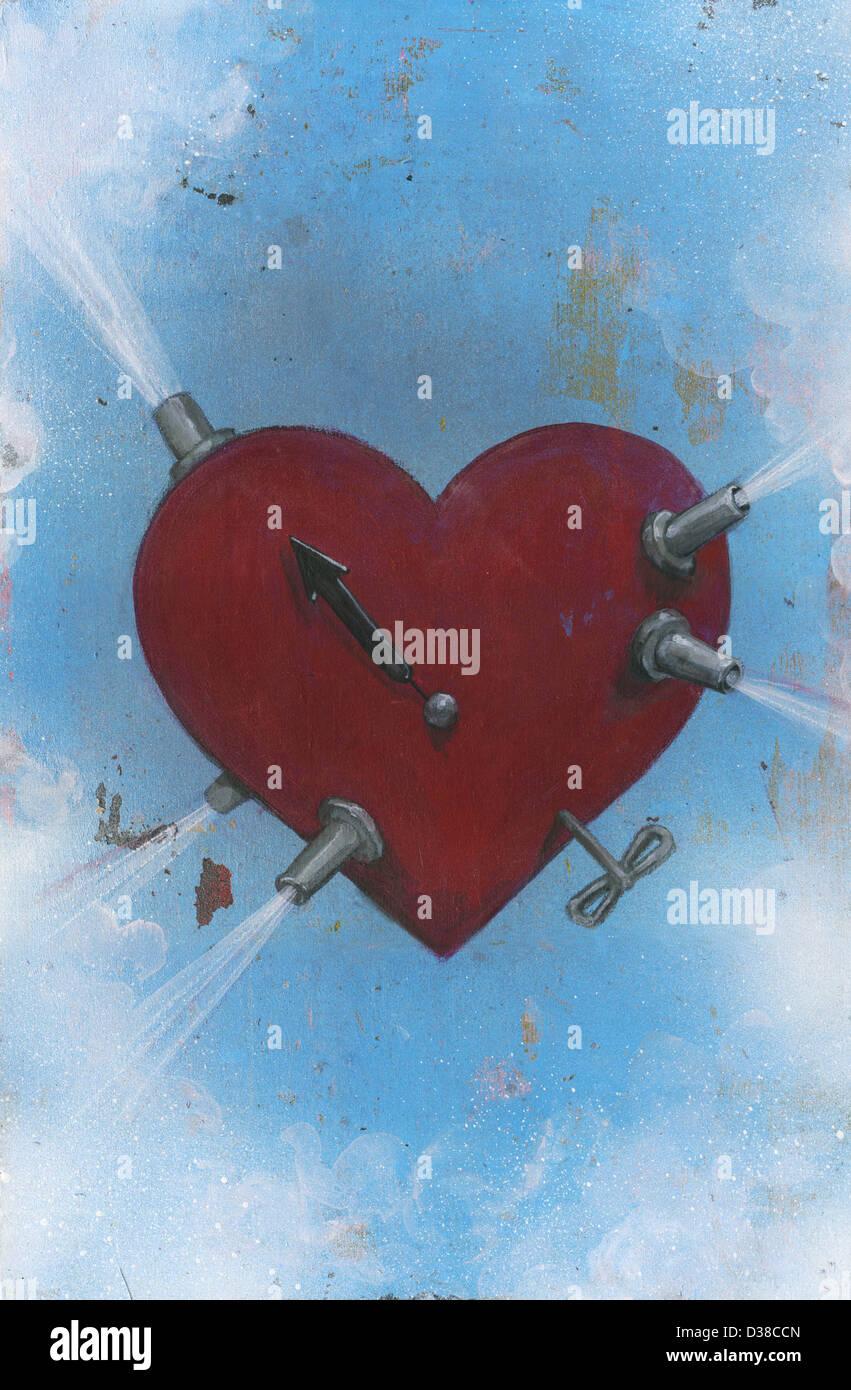 Immagine illustrativa di aria inizia a sgorgare dal cuore che rappresenta il meccanismo del cuore Immagini Stock