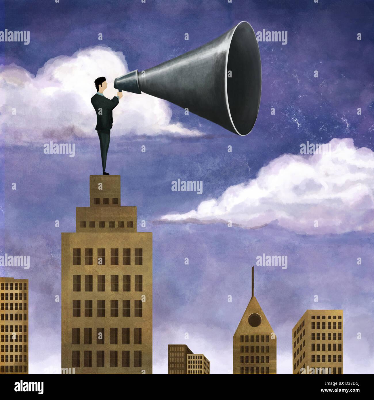 Immagine illustrativa di imprenditore sulla sommità dell'edificio contenente mega telefono che rappresentano Immagini Stock