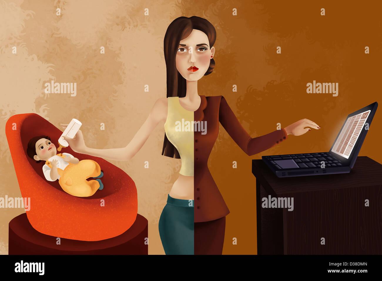 Immagine illustrativa della donna professionale alimentando il suo bambino durante l'utilizzo di laptop Immagini Stock