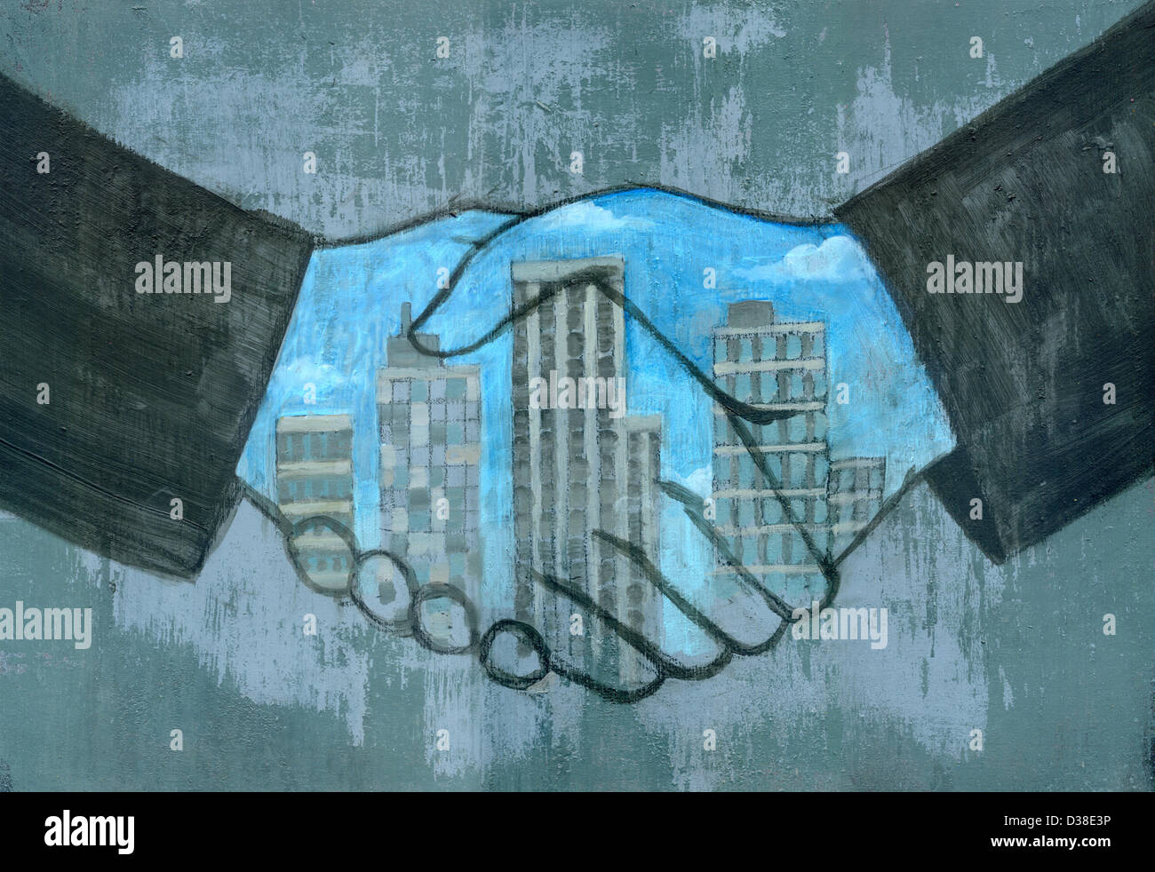 Immagine illustrativa della fusione con le mani in mano la tenuta di una trattativa Immagini Stock
