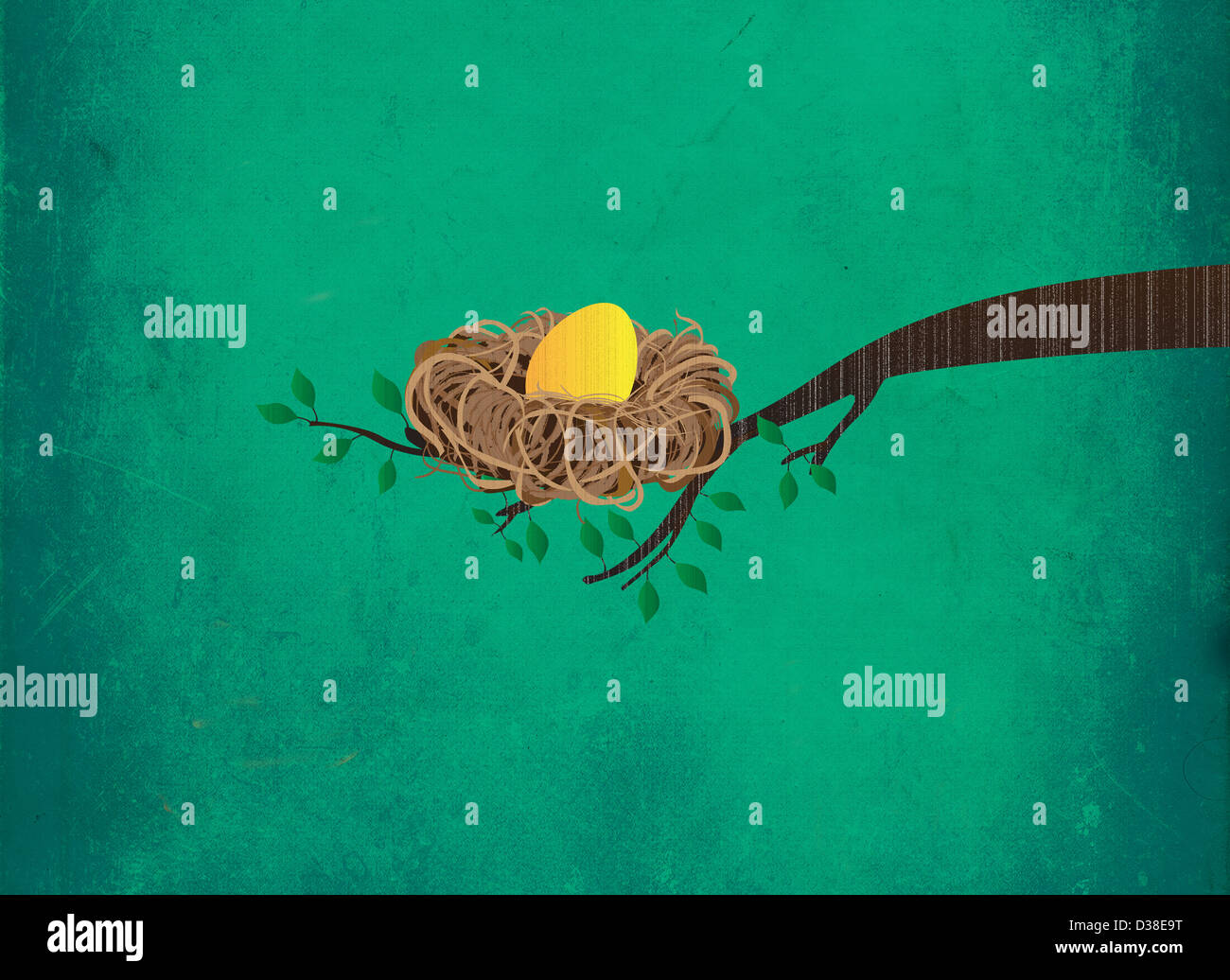 Immagine illustrativa del Golden Egg nel nido sul ramo che rappresentano gli investimenti Immagini Stock