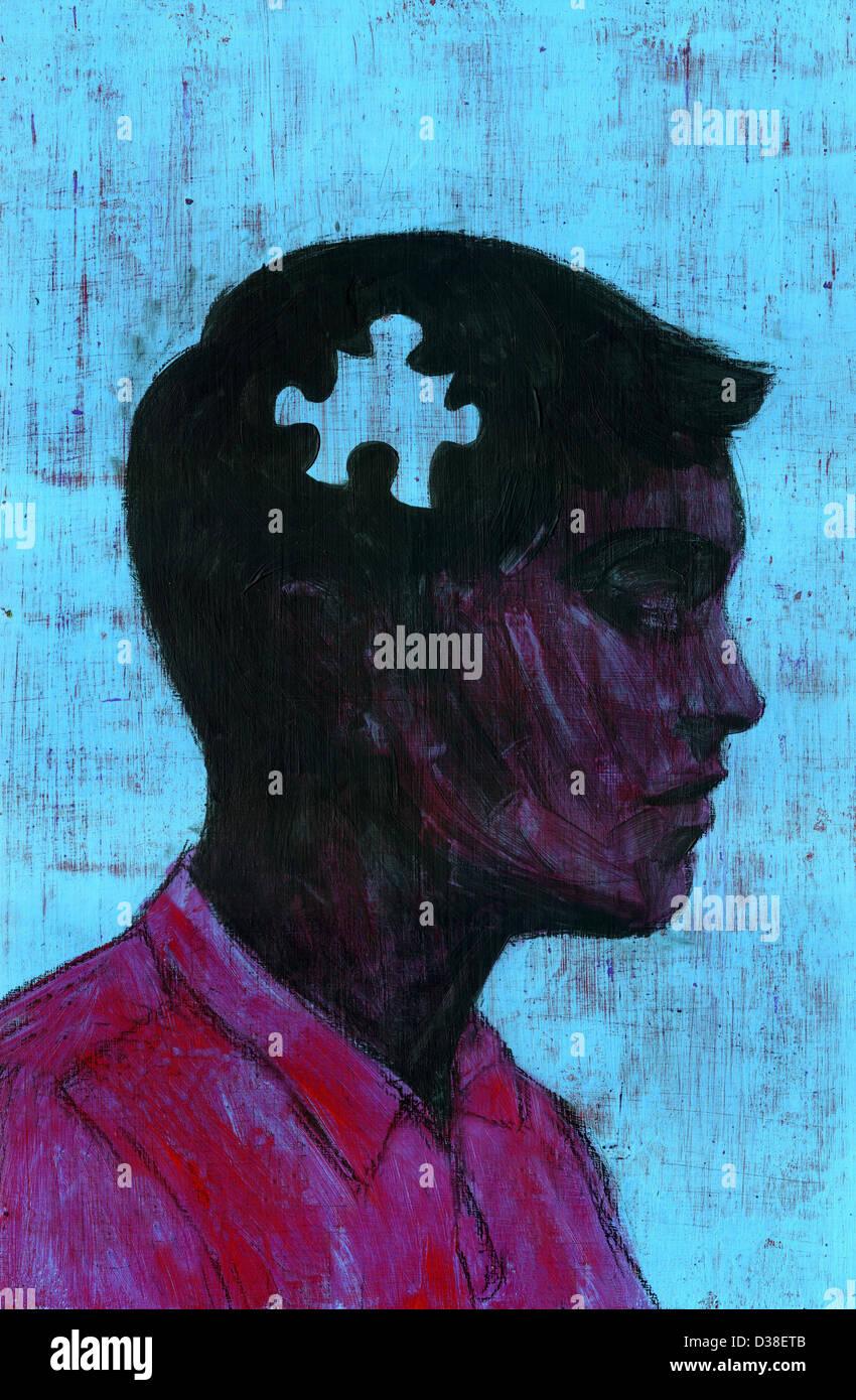 Immagine illustrativa dell'uomo con il pezzo mancante del puzzle che rappresenta la perdita di memoria Foto Stock