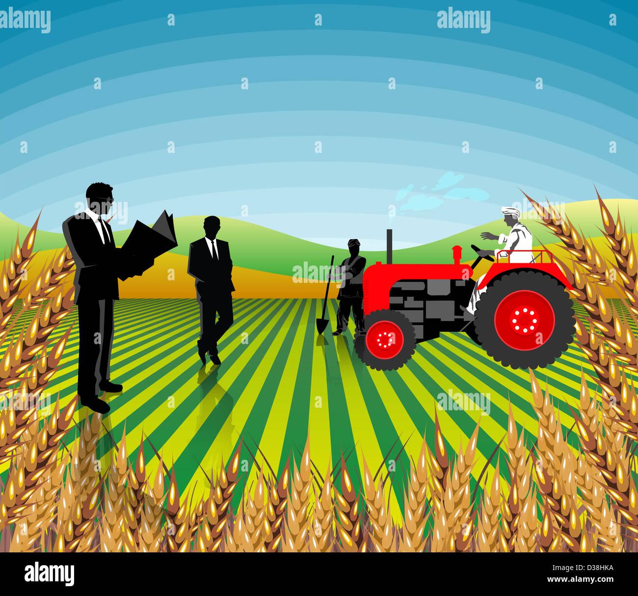 Gli imprenditori e gli agricoltori in un campo, India Immagini Stock