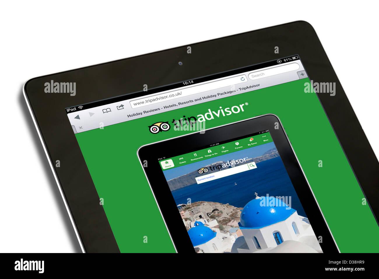 Il sito di TripAdvisor visualizzati su una quarta generazione di Apple iPad Immagini Stock