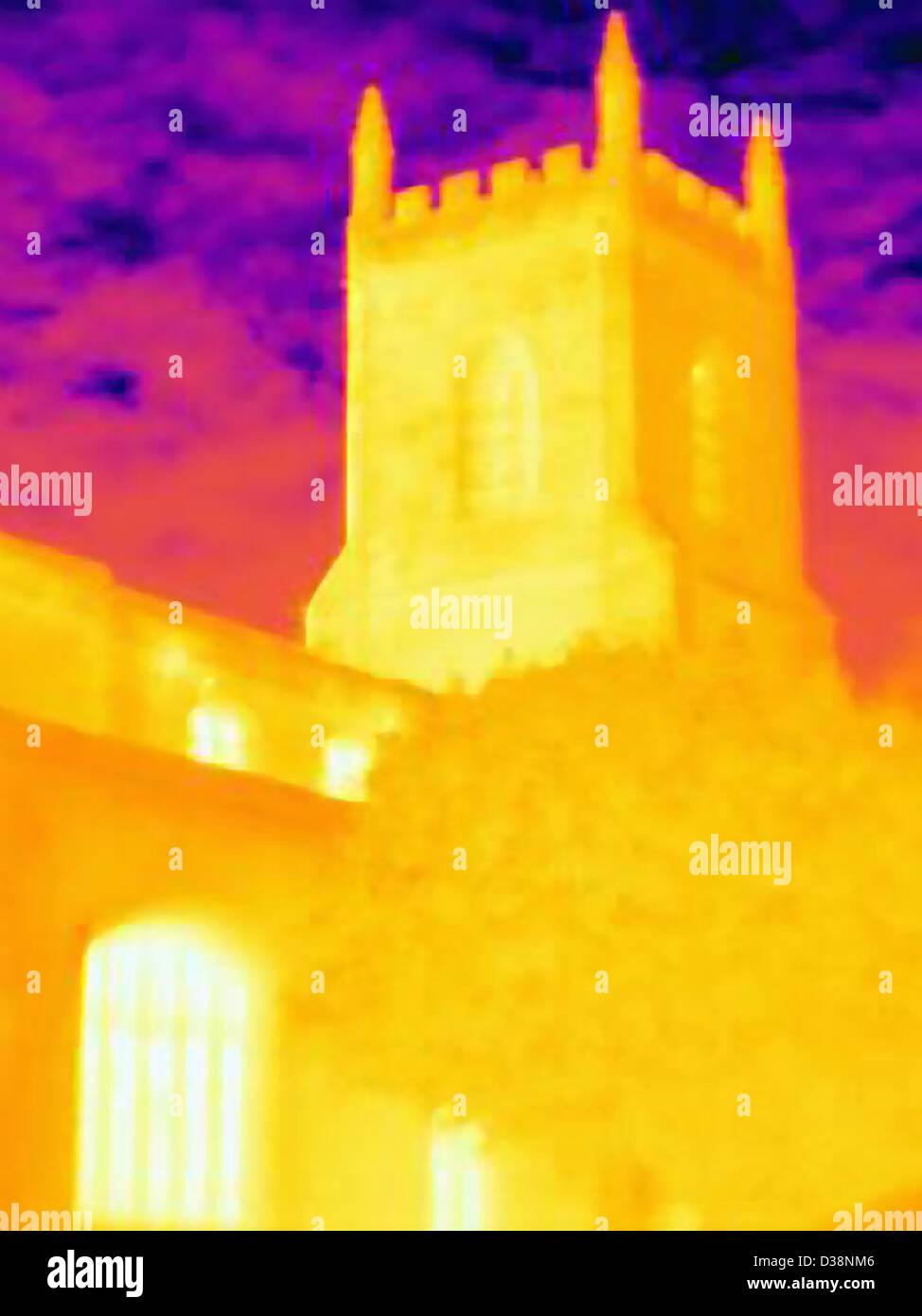 Immagine termica della chiesa edificio Immagini Stock