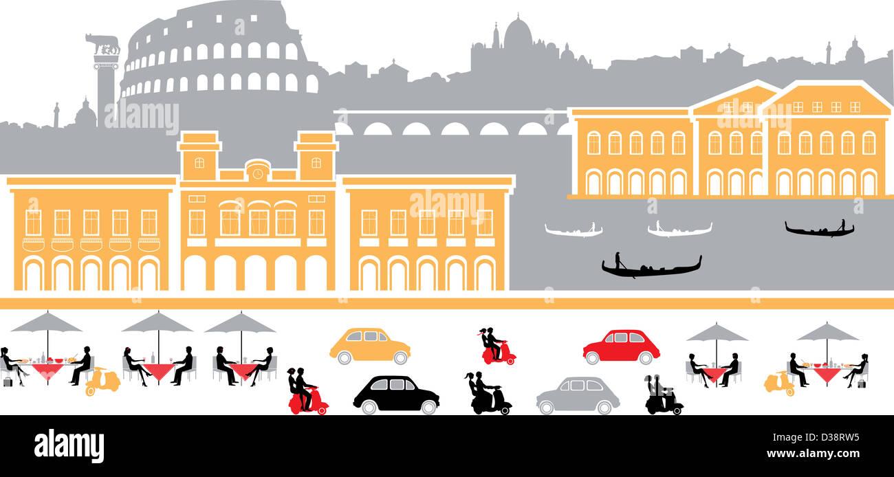 Montaggio dei punti di riferimento in una città, Roma, Italia Foto Stock
