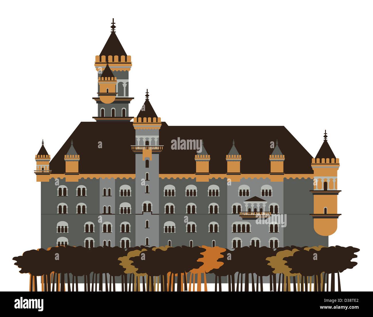 Alberi di fronte a un castello, il Castello di Neuschwanstein, Baviera, Germania Immagini Stock