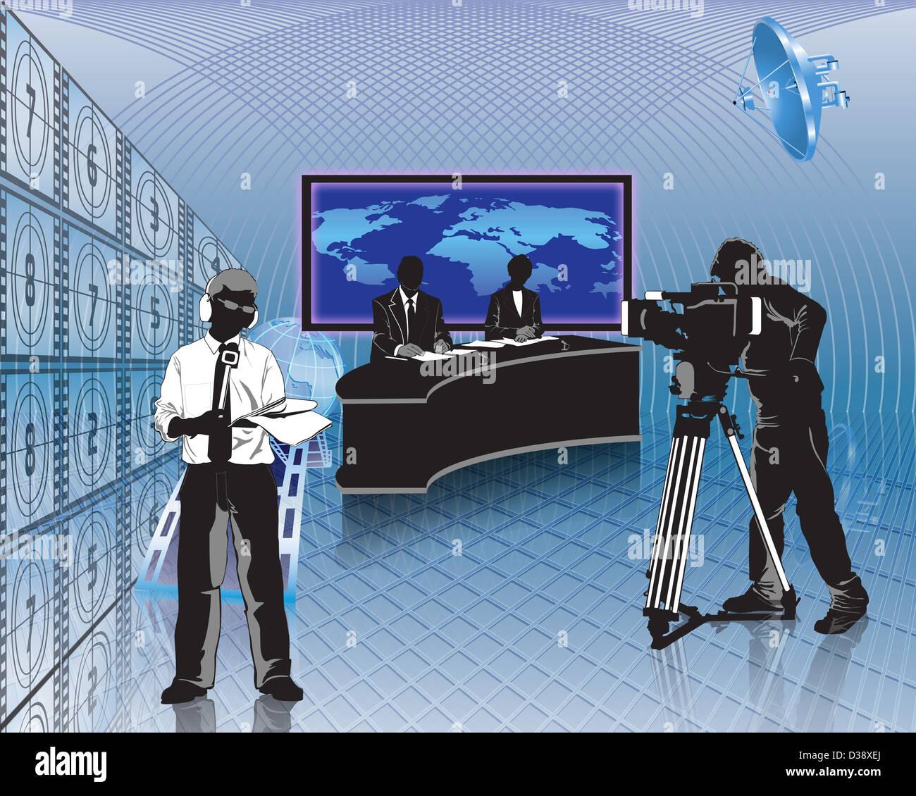 Televisione news presentatori con un cameraman in uno studio televisivo Foto Stock