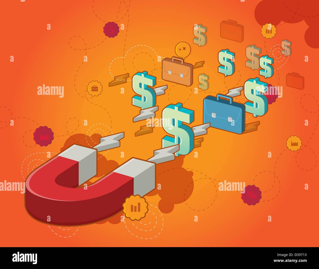 Illustrazione del magnete a ferro di cavallo accumulando i simboli del dollaro e valigette raffiguranti concetto Immagini Stock