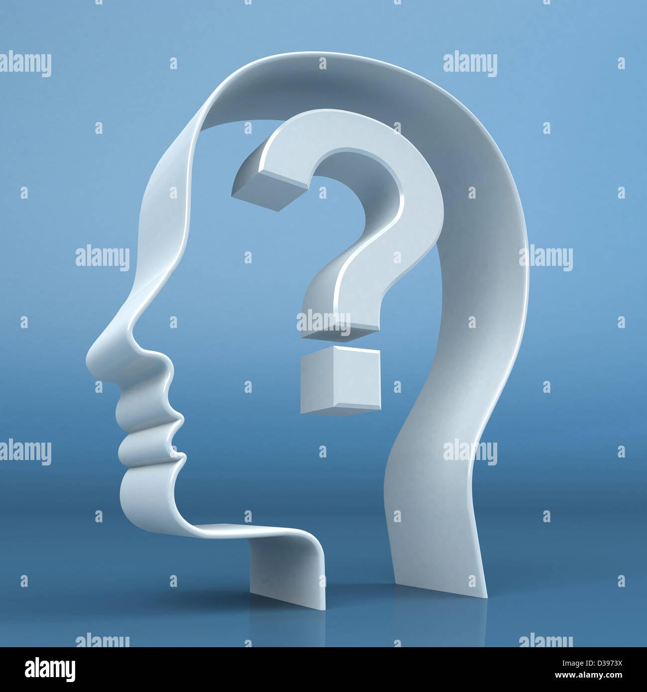 Conceptual colpo di testa umana con punto interrogativo raffigurante la confusione Immagini Stock