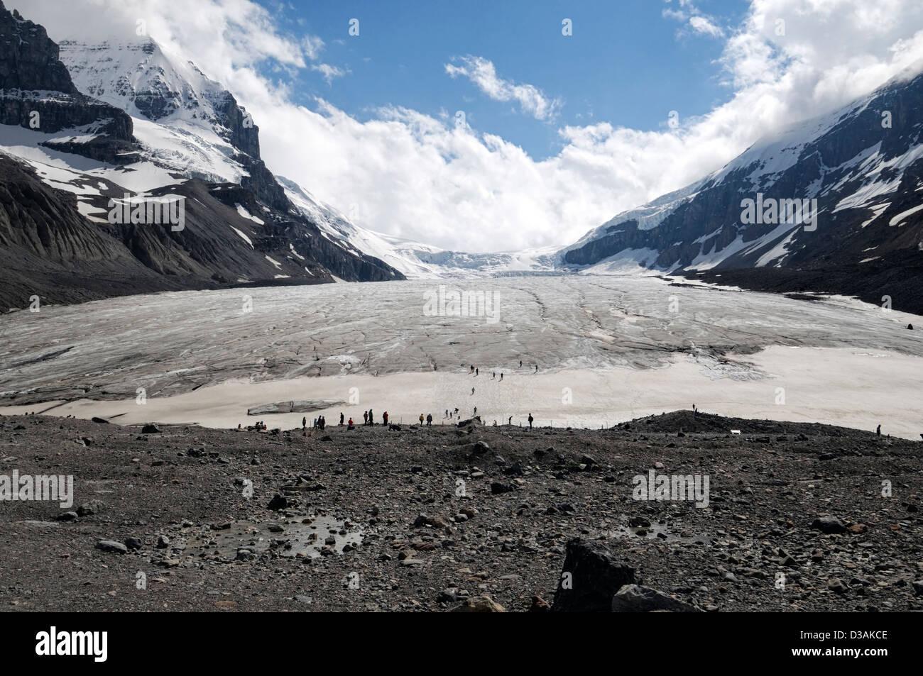Ghiacciaio Athabasca Columbia Icefield Jasper National Park nello stato di Alberta in Canada il cambiamento climatico Immagini Stock