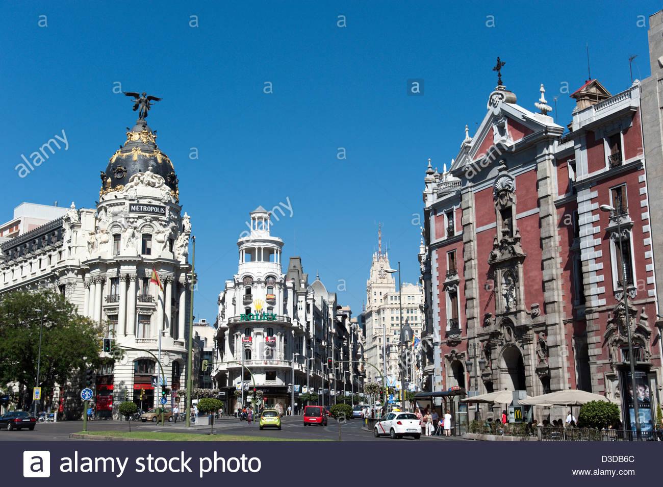 Edificio Metropolis all' angolo di Calle de Alcalá e Gran Via, Madrid, Spagna Immagini Stock