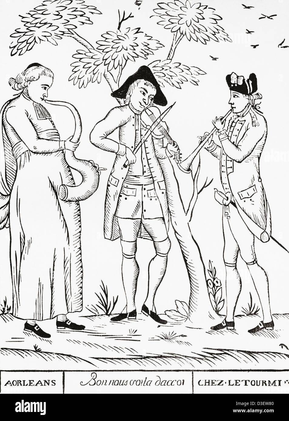 La reunion dei tre ordini di francese, il clero e la nobiltà ed i lavoratori, nel XVIII secolo. Immagini Stock
