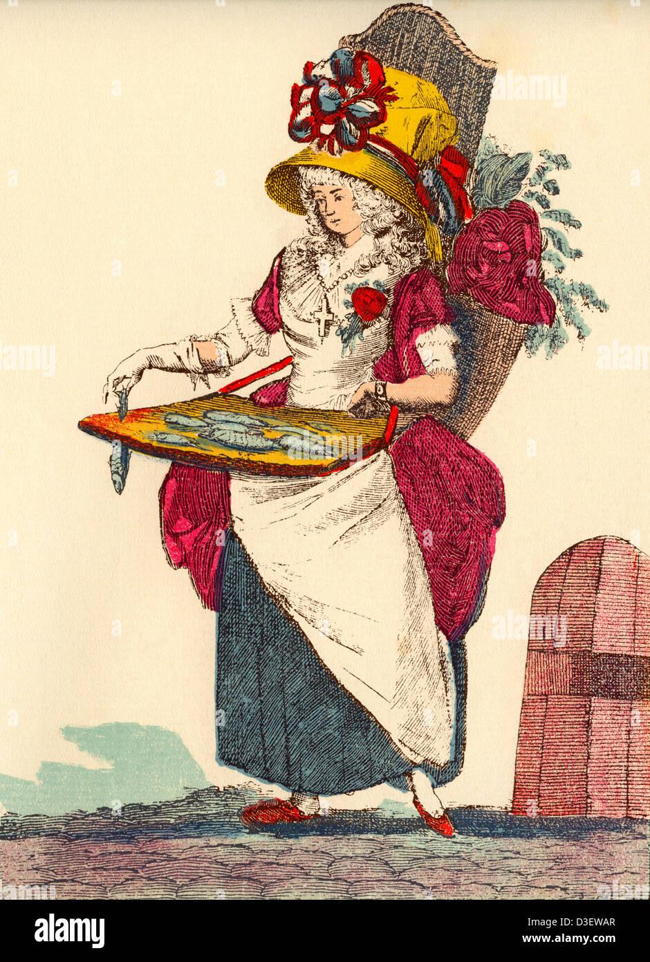 Donna che indossa mix di vestiti che rappresentano i tre ordini - clero, nobiltà e lavoratore - in Francia Immagini Stock