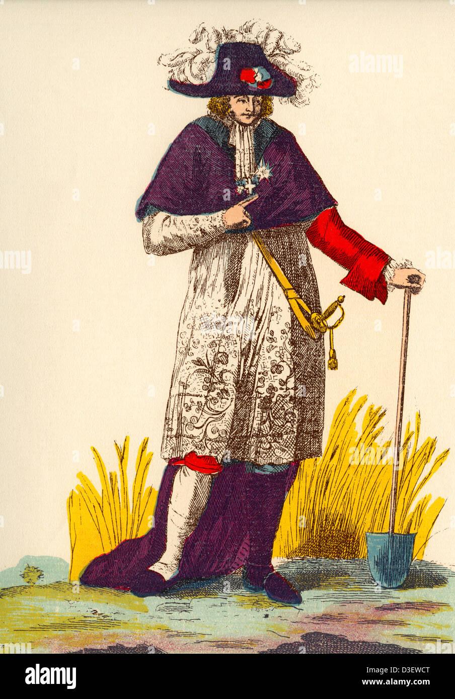 Uomo che indossa una miscela di vestiti che rappresentano i tre ordini - clero, nobiltà e lavoratore - in Francia Immagini Stock