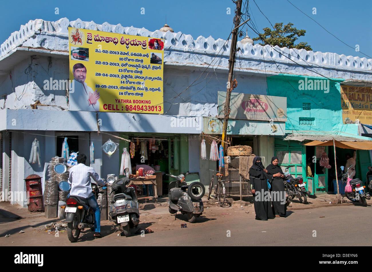 Bazar e il Mercato di strada a nord del fiume Musi Hyderabad India Andhra Pradesh Immagini Stock