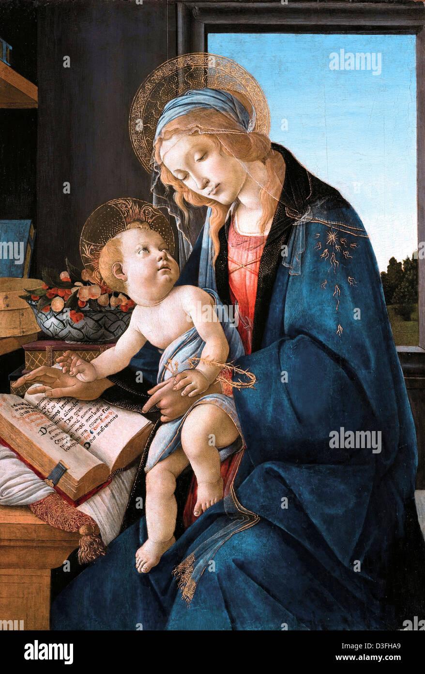 Sandro Botticelli, Madonna del libro (Madonna del Libro) 1480-1481 Tempera su pannello. Museo Poldi Pezzoli, Milano Immagini Stock