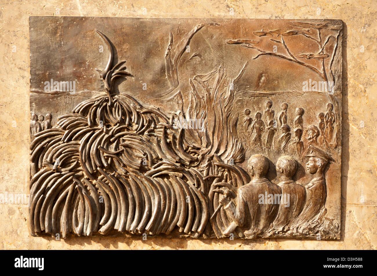 Memorial presso l'avorio bruciando sito, il Parco Nazionale di Nairobi, Nairobi, Kenia Immagini Stock