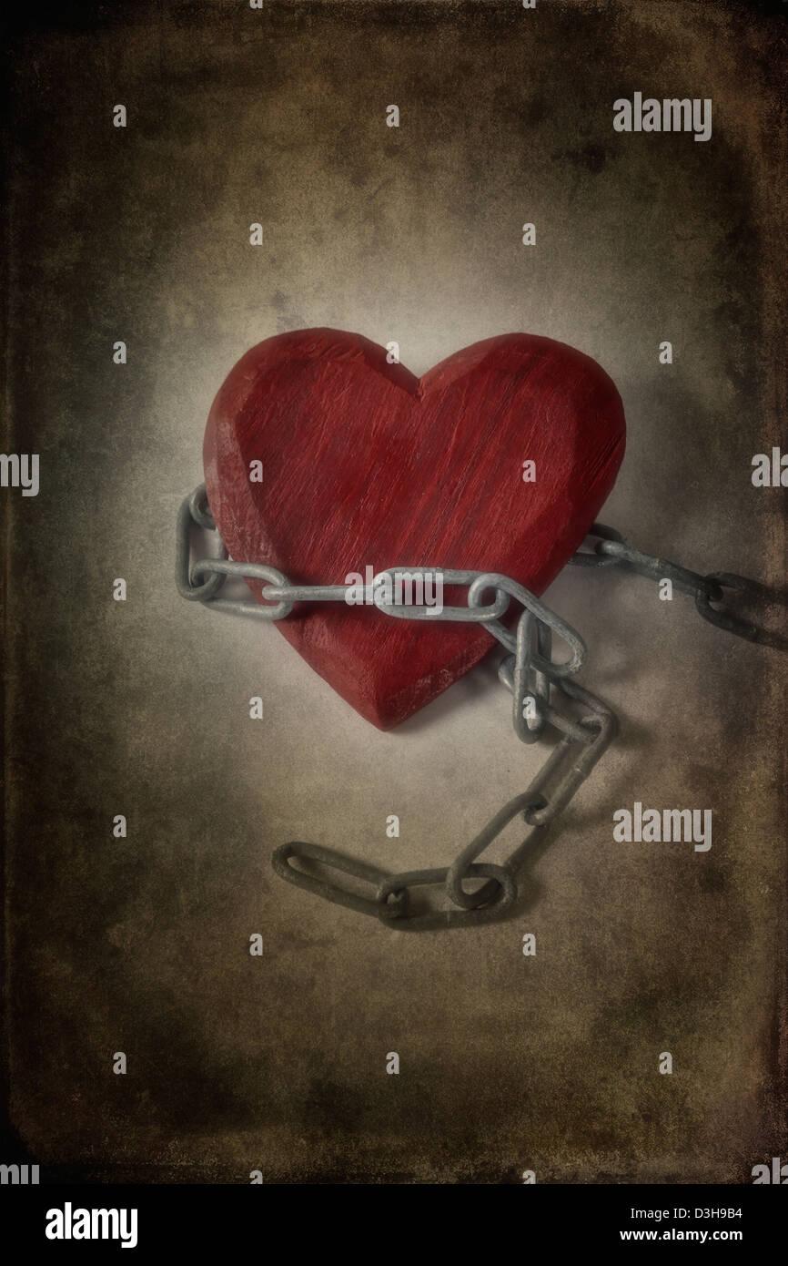 Un cuore in catene Immagini Stock