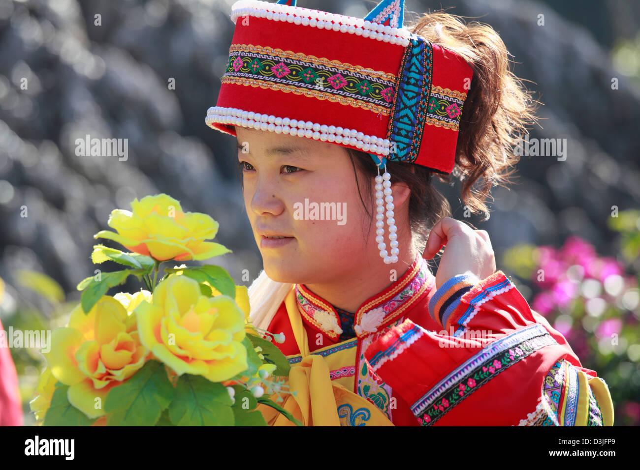 Cina Yunnan, Shilin, appartenenti a una minoranza etnica donna, Immagini Stock