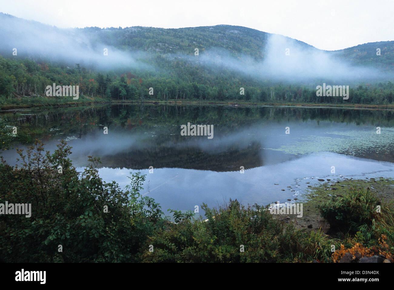 Elk282-2200 Maine, Parco Nazionale di Acadia, bolla di stagno Immagini Stock