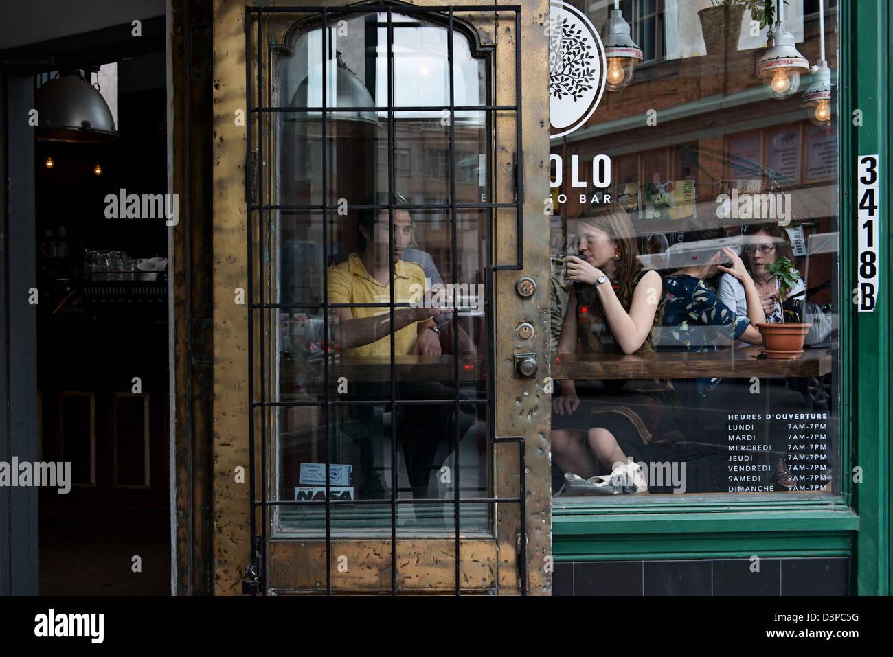 Pikolo Café coffee shop, Park avenue, Montreal, Quebec, Canada Immagini Stock