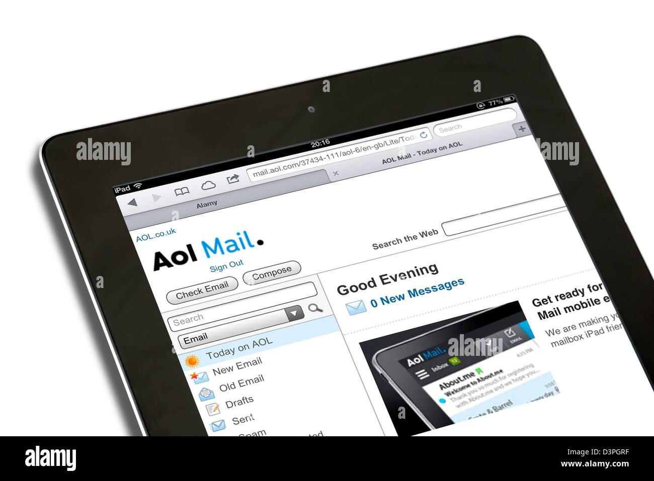Account di posta elettronica AOL visualizzati su una quarta generazione di iPad, REGNO UNITO Immagini Stock