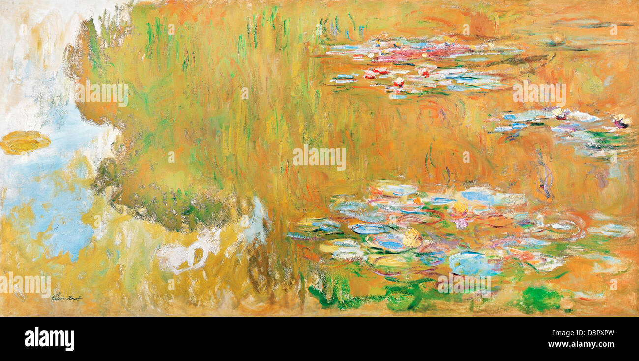 Claude Monet, il laghetto di ninfee 1917-19 Olio su tela. Albertina di Vienna, Austria Immagini Stock