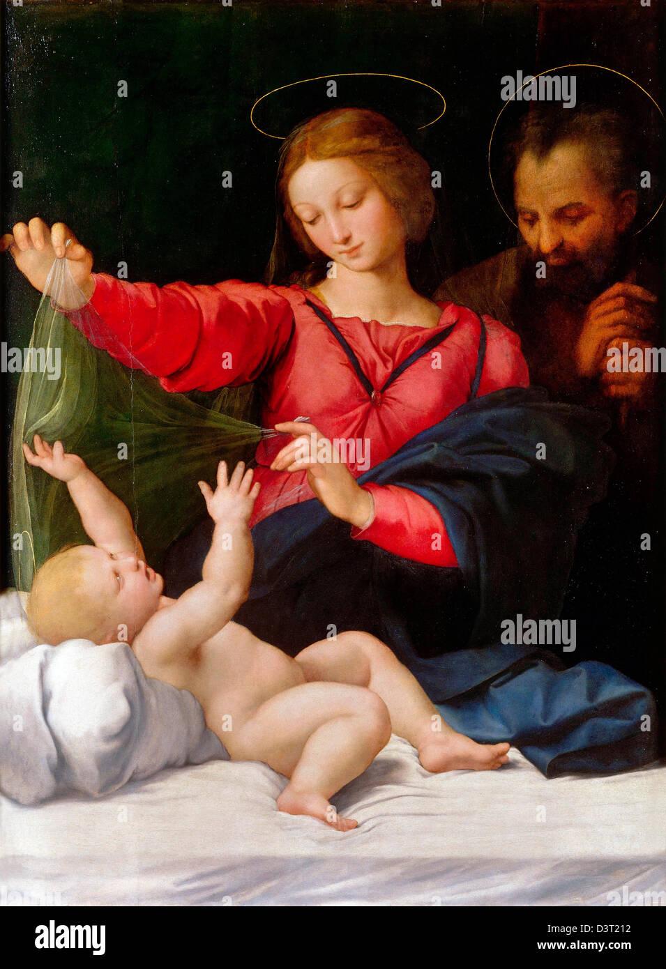 Raffaello, Madonna di Loreto 1509 olio su pannello. Musée Condé, Chantilly Immagini Stock