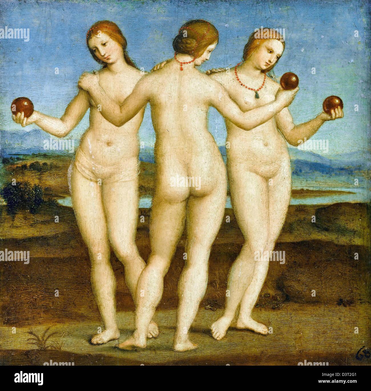 Raffaello, Le Tre Grazie. 1504-05 olio su pannello. Musée Condé, Chantilly Immagini Stock