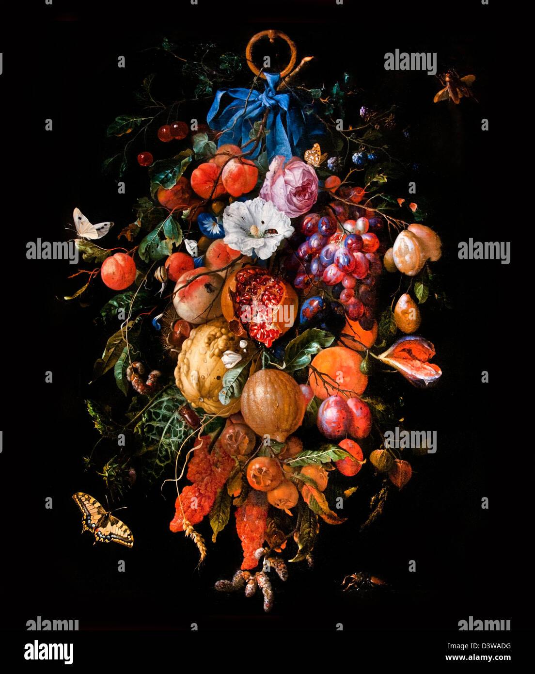 Festone di fiori e frutta 1660 Jan Davidsz de Heem olandese Paesi Bassi Foto Stock
