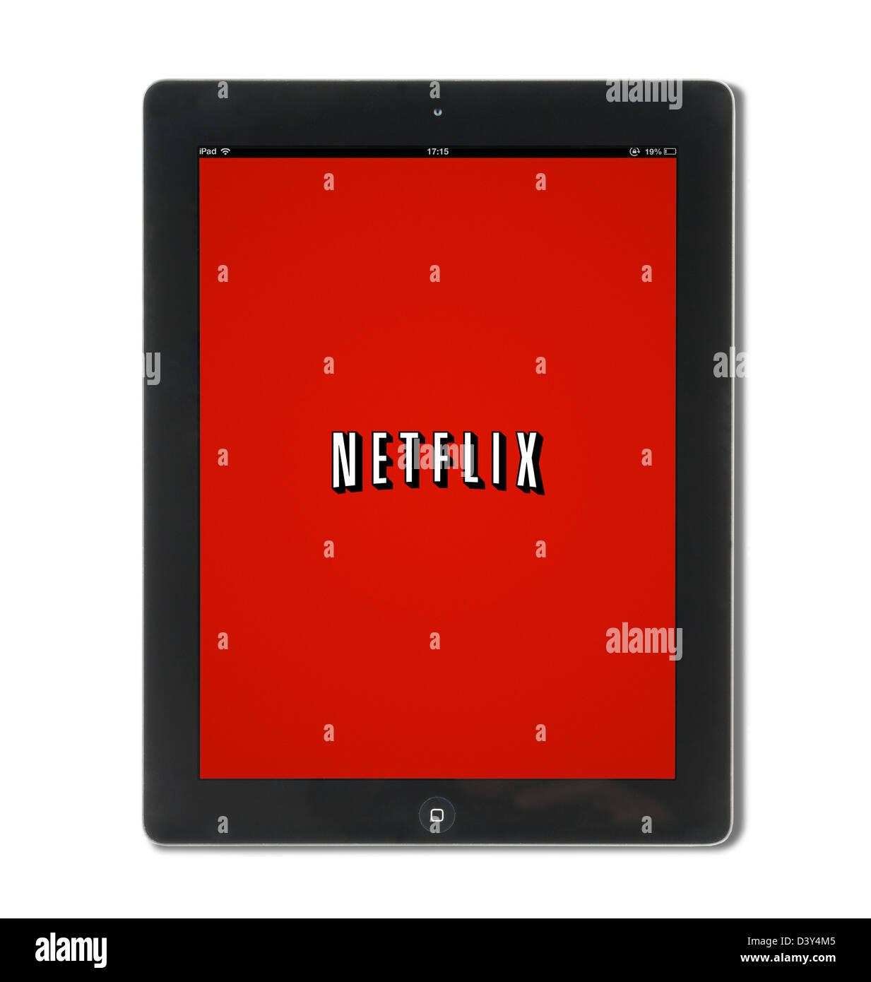 Il video Netflix sito web streaming, visualizzati su una quarta generazione di iPad, REGNO UNITO Immagini Stock