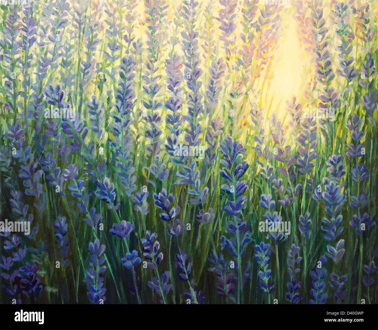 Un dipinto ad olio su tela di un viola lavanda fioritura bush negli ultimi raggi del sole al tramonto. Immagini Stock