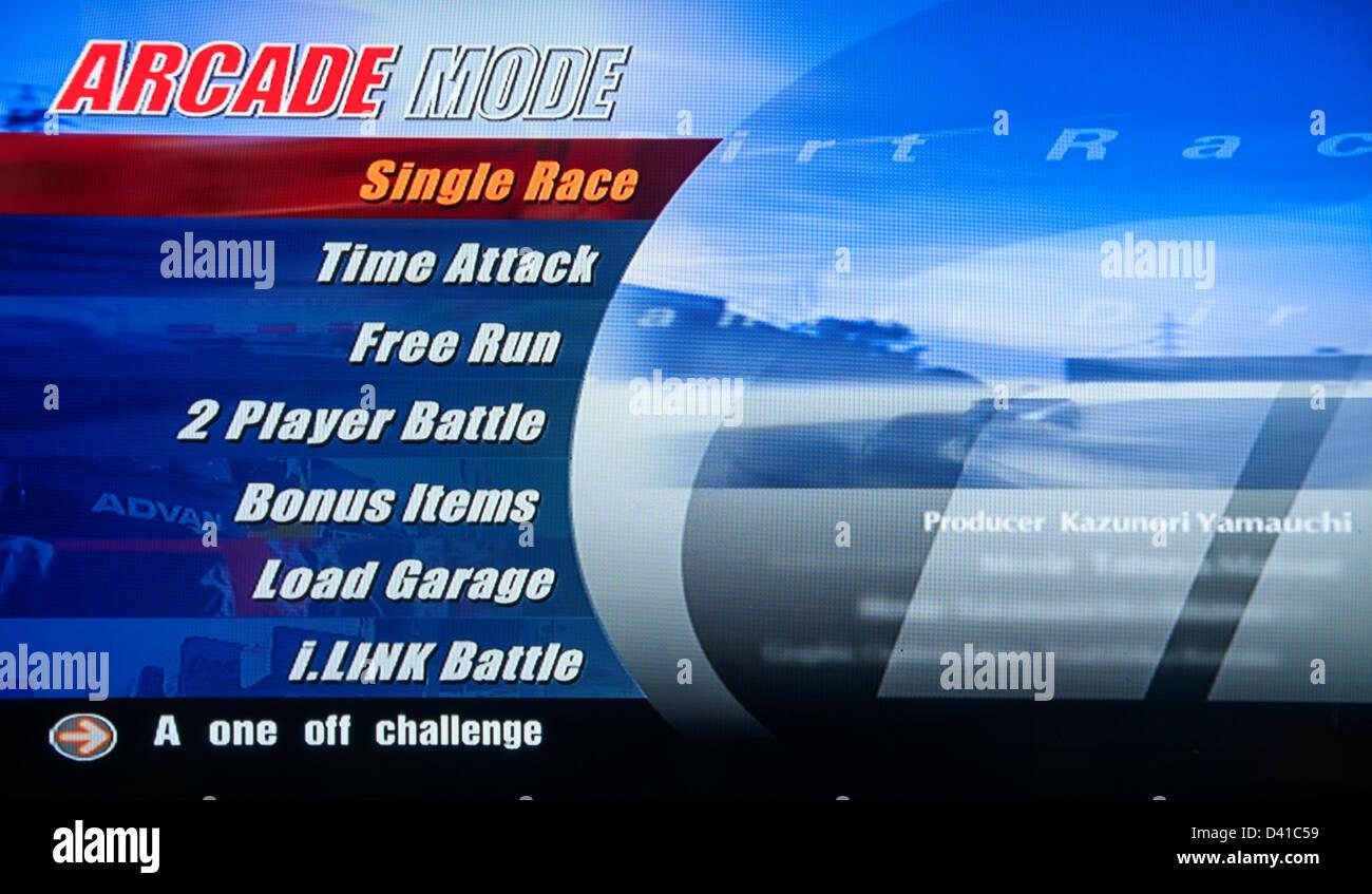 Gran Turismo, GT GT1 calcolatore video gioco, modalità Arcade Immagini Stock