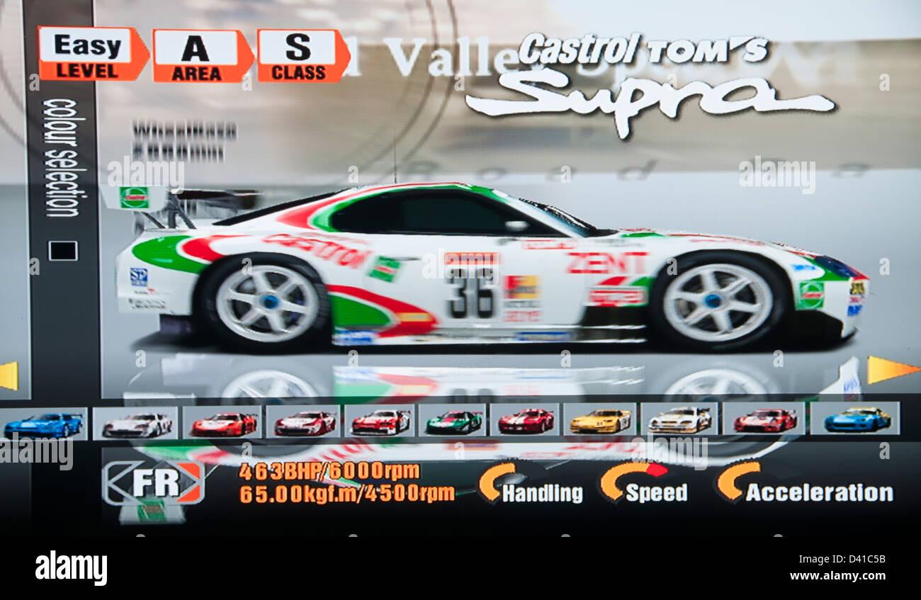 Gran Turismo, GT GT1 calcolatore video gioco, scelta vetture Immagini Stock