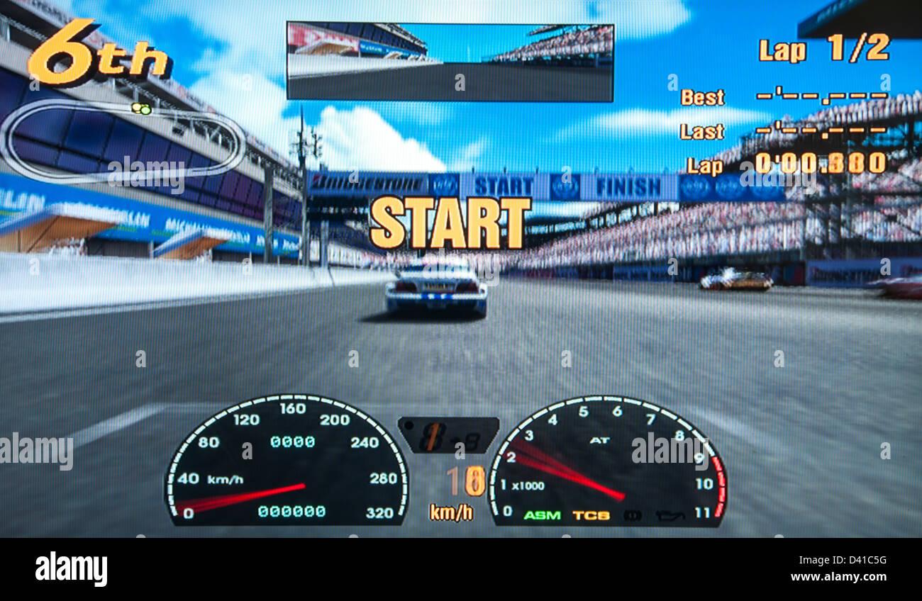 Gran Turismo, GT GT1 calcolatore video gioco nella schermata di avvio Immagini Stock
