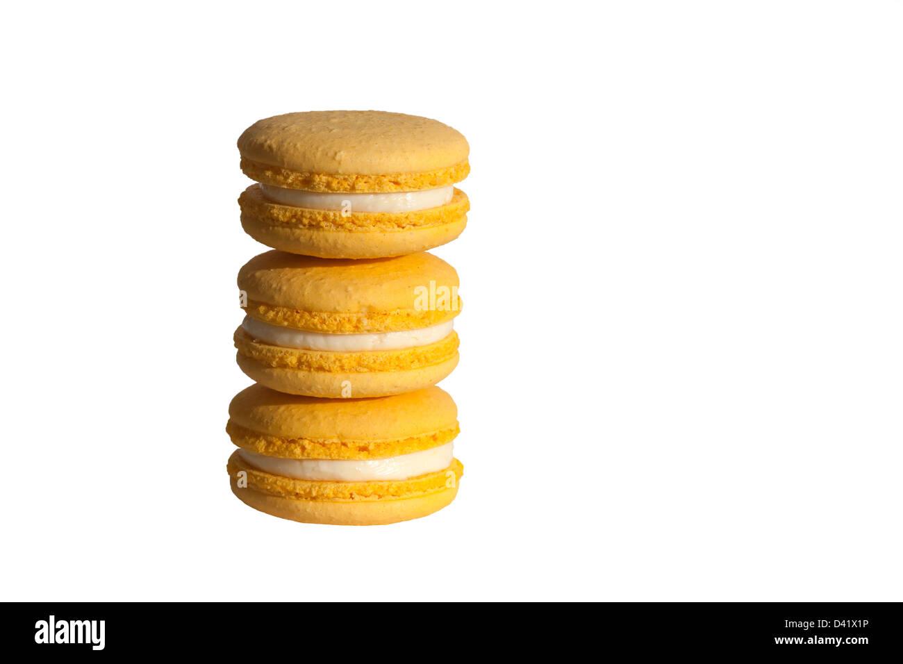 Aromatizzato al limone macarons Immagini Stock
