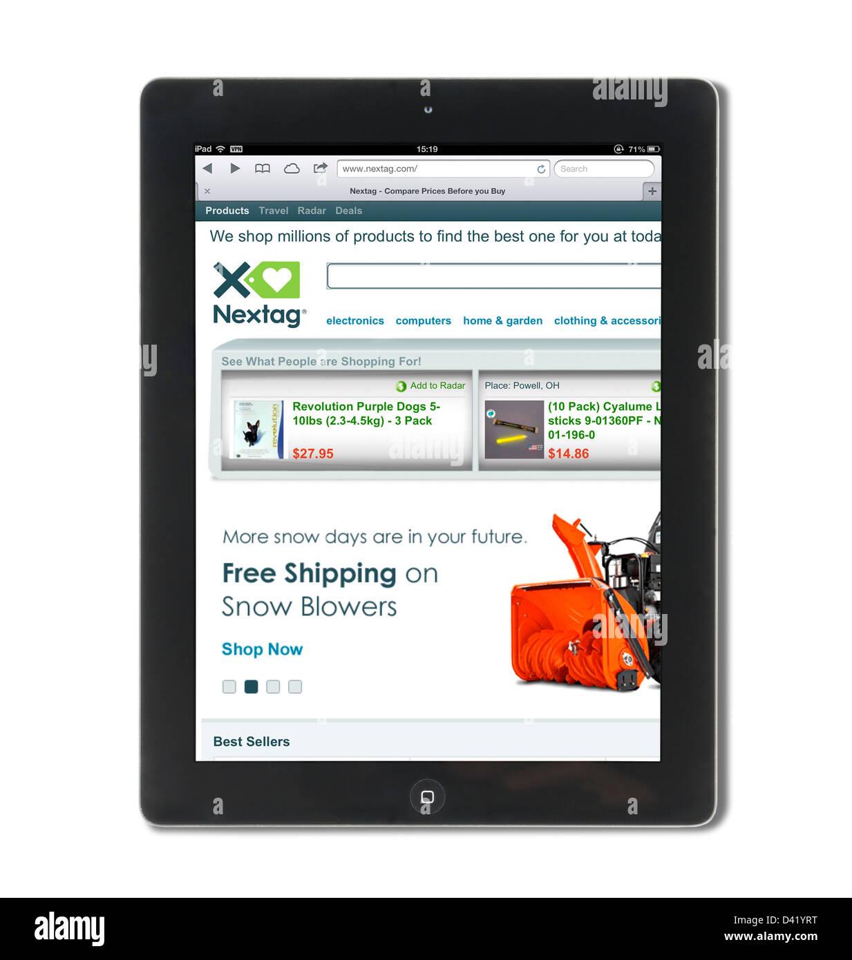 Il confronto dei prezzi sito NexTag visualizzati su un iPad 4, STATI UNITI D'AMERICA Immagini Stock