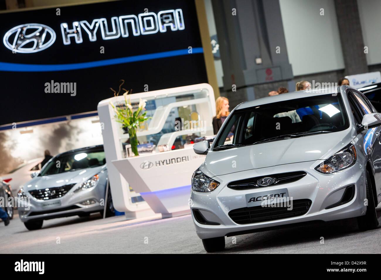 2013 veicoli Hyundai sul display a 2013 Washington, DC Auto Show. Immagini Stock