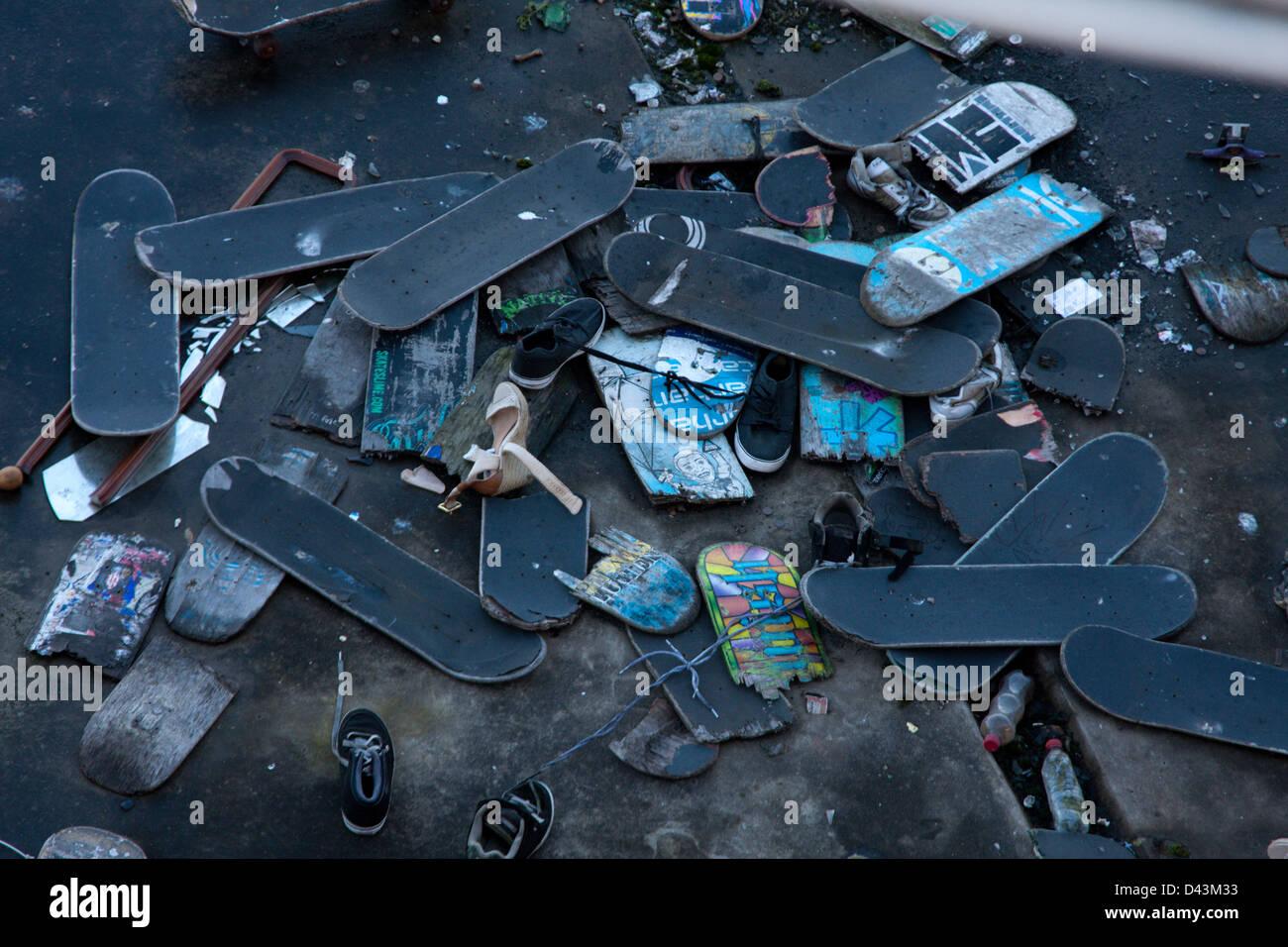 Cimitero di skateboard a Hungerford Bridge, Londra Immagini Stock