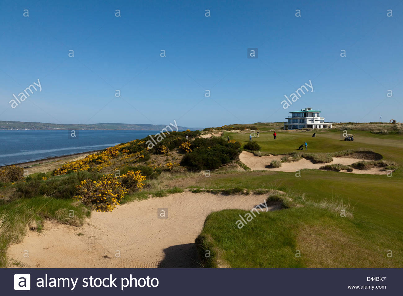 Castle Stuart Golf Links, situato tra Inverness e Nairn, sulla Scozia Moray Firth coast. Immagini Stock