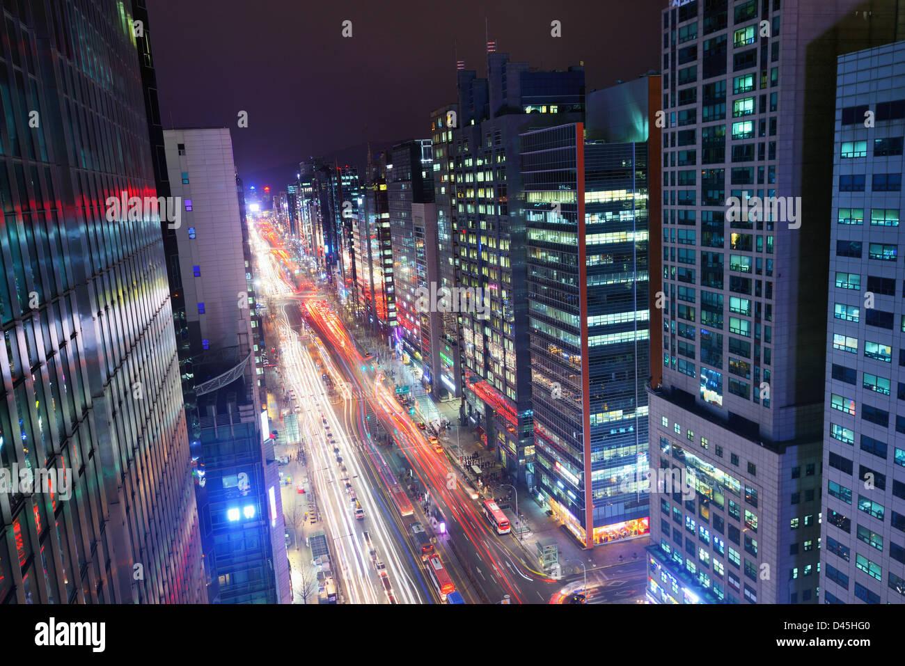 Il quartiere di Gangnam di Seoul, Corea del Sud. Immagini Stock